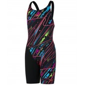 Speedo Junior Fastskin End+ Openback Kneeskin - Black/Red/Green